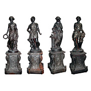 "SALE 3126 Set of Four Cast Iron Garden Figures - ""The Four Seasons"""