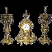 SALE 3339 3-Pc. 19th Century Matching Bronze Clock Set