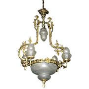 SALE 3340 19th C. French Bronze Chandelier wtih Original Shades
