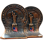 SALE 3357 Pair of Antique Bronze Statue of Liberty Bookends