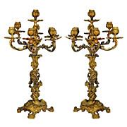 SALE 376 Pair of Ornate French Doré Bronze Candelabras