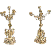 SALE 383 Pair of American Bronze Candelabra with Herons at Base