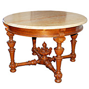 SALE 4033 Large Rosewood Marble Top Antique Center Table