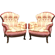 SALE 4402 Pair of Antique Turkish Chairs & Footstools in Damask Fabric