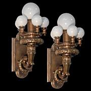 SALE 4439 Magnificent Pair of Bronze Beaux Art 6-Light Sconces