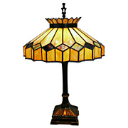 SALE 4456 Fantastic Stained Glass Table Lamp c. 1920