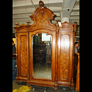 SALE 4626 Victorian Walnut and Burl 3-door Armoire/Bookcase attrib. Thomas Brooks