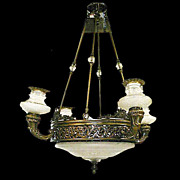 SALE 4628 5-Light Bronze & Cut Glass Chandelier