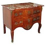 SALE 4694 Antique Louis XV French Marble Top Inlaid Commode