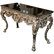 SALE 4755 French Silver Bronze Console Table with Black Marble Top