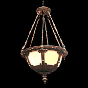 SALE 4853 Beautiful Bronze & Amber Stained Glass Hanging Light Fixture