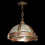 REDUCED 4869 Heavy Bronze Hanging Fixture with Chunked Amber Glass