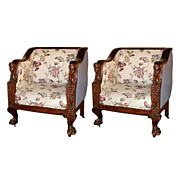 SALE 4895 Pair of Fancy Carved Mahogany Armchairs with Ladies Heads