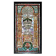 REDUCED 4911 Beautiful Ornate Jeweled & Beveled Stained Glass Window