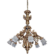 SALE 5013 French Gilt Bronze 8-Light Chandelier