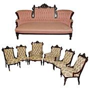 SALE 5016 Beautiful 7-Piece American Rosewood Parlor Set by George Hunzinger c. 1885