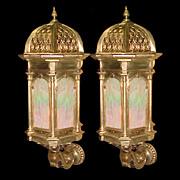 SALE 5029A Pair of 19th C. Bronze Lantern Sconces.