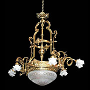 SALE 5038 Stunning Large Cast Brass Chandelier with Cut Glass Dome c. 1910
