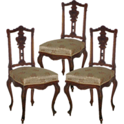 SALE 5048B Set of Three 19th C. French Rosewood Side Chairs