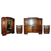 SALE 5094 Beautiful French 4-Piece Mahogany Art Deco Bed Set