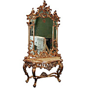SALE 5136 Beautiful 19th C. Mirrored Console with White Marble Top
