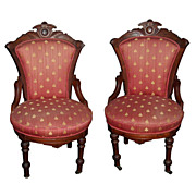 SALE 5161A Beautiful Pair of Eastlake Victorian Side Chairs c. 1880