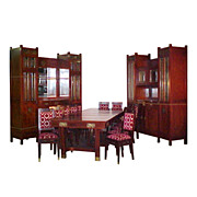 SALE 5195 Early 20th C. French Dining Suite 15 piece with Ormolu and Beveled Glass