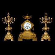 SALE 63.520 Three-Piece Matching Neo-Classical Bronze Clock Set
