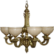 SALE 5204 19th C. Bronze Victorian Chandelier with Alabaster Shades