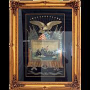 SALE 5258 Framed Japanese Silk Naval Embroidery Memorabilia c. 1905