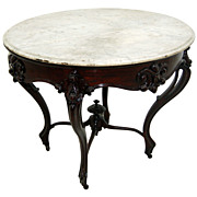 """SALE 5293 Outstanding 38"""" Rosewood American Marble Top Center Table Attr: Alexander Roux,"""
