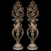 "SALE 5374 Pair of Fabulous 5'2"" Bronze Torcheres with White Marble Base"