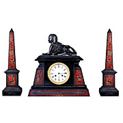 SALE 5382 Fantastic Egyptian Revival Gilt & Painted Bronze and Onyx 3 Pc. Clock Set.