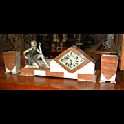 SALE 5480 Beautiful Three-Piece Art Deco Clock Set with Bronze Girl c. 1925