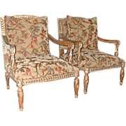 SALE 5602 Pair of 20th C. Upholstered Armchairs