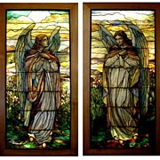 REDUCED 5603 Magnificent Pair of 8'H Stained Glass Angel Windows by Tiffany Studios