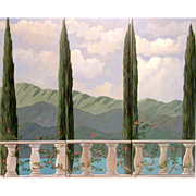 SALE 5612 3 Section Scenic Mural Signed: Gerry High