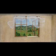 SALE 5616 Oil on Canvas Window Scene Signed: Gerry High