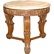 SALE 5618 20th C. Carved Marble Top Side Table