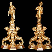 SALE 5622 Pair of 19th C. Figural Dore Bronze Andirons