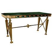 SALE 5626 19th C. Gorham Bank Table with Marble Top