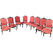 SALE 5658 Set of 8 Matching Rosewood Art Nouveau Chairs