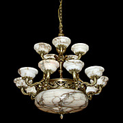 SALE 5728 French Bronze & Alabaster Chandelier