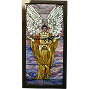 SALE 5753 Beautiful Stained Glass Window with Angelic Warrior Motif