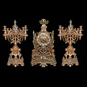 SALE 5794 Beautiful 3 Pc French Bronze Candelabra Clock Set