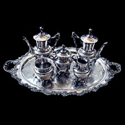 SALE 5809 American Eastlake 6 piece Silver Tea Set .