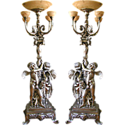 SALE 5833 Fabulous Pair of 9'H Silver over Bronze Torcheres