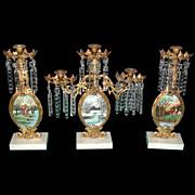 SALE 5857 Antique 3-Piece Gilt Bronze Girandole Set with Oil on Board Landscapes