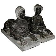 SALE 5867 Beautiful Pair of Black Marble Sphinxes