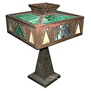 SALE 5916 Antique Cast Bronze & Iron Table Lamp with Stained Glass Filigree Shades